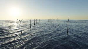 Offshore wind farm in the sea